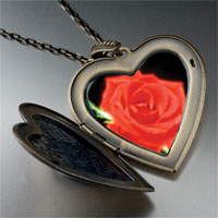 Necklace & Pendants - red rose large heart locket pendant necklace Image.