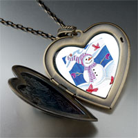 Necklace & Pendants - heart locket pendants christmas gifts snowman birds large heart locket pendant necklace Image.