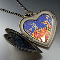 Necklace & Pendants - christmas rudolph reindeer snowfall large heart locket pendant necklace Image.