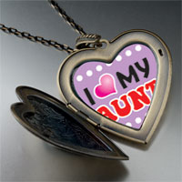 Necklace & Pendants - i heart aunt large photo heart locket pendant necklace Image.