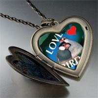 Necklace & Pendants - love birds blue large heart locket pendant necklace Image.