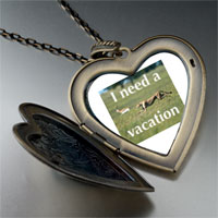 Necklace & Pendants - i need a vacation large heart locket pendant necklace Image.