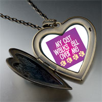 Necklace & Pendants - cat walks large heart locket pendant necklace Image.