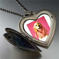 Necklace & Pendants - retriever in pink large heart locket pendant necklace Image.