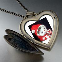 Necklace & Pendants - snow woman figurine large heart locket pendant necklace Image.