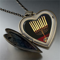 Necklace & Pendants - family menorah large heart locket pendant necklace Image.