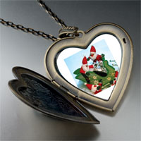 Necklace & Pendants - santas on sleigh large heart locket pendant necklace Image.