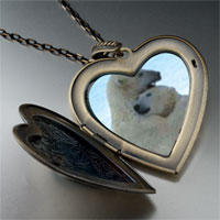 Necklace & Pendants - polar bear hug large heart locket pendant necklace Image.
