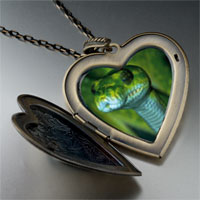 Necklace & Pendants - green snake large heart locket pendant necklace Image.