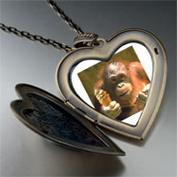 Necklace & Pendants - ice cream chimpanzee large heart locket pendant necklace Image.