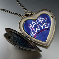 Necklace & Pendants - happy new year hat large heart locket pendant necklace Image.