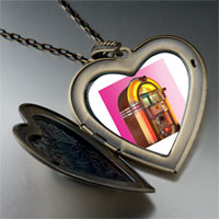 Necklace & Pendants - rock ' n'  roll jukebox large heart locket pendant necklace Image.