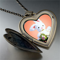 Necklace & Pendants - easter bunny egg large heart locket pendant necklace Image.