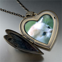 Necklace & Pendants - little kitten large heart locket pendant necklace Image.