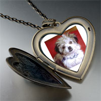 Necklace & Pendants - little terrier large heart locket pendant necklace Image.