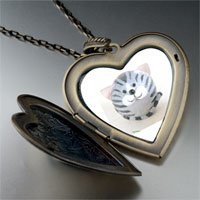 Necklace & Pendants - puffball grey stripes cat large heart locket pendant necklace Image.
