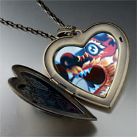 Necklace & Pendants - dragon chinese new year large heart locket pendant necklace Image.