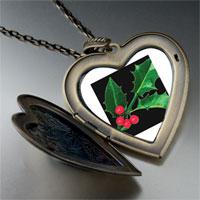 Necklace & Pendants - holly leaf photo large heart locket pendant necklace Image.