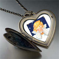 Necklace & Pendants - angel drooping halo large heart locket pendant necklace Image.