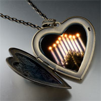 Necklace & Pendants - lit menorah photo large heart locket pendant necklace Image.