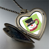 Necklace & Pendants - heart locket pendants christmas gifts snowman mug large heart locket pendant necklace Image.