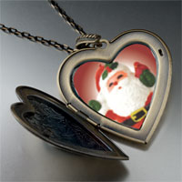 Necklace & Pendants - merry santa large heart locket pendant necklace Image.