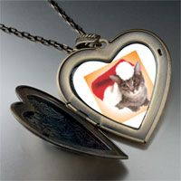 Necklace & Pendants - christmas cat large heart locket pendant necklace Image.