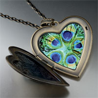 Necklace & Pendants - green peacock feathers large heart locket pendant necklace Image.