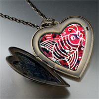Necklace & Pendants - fish on red large heart locket pendant necklace Image.