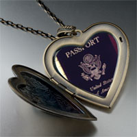 Necklace & Pendants - usa passport large heart locket pendant necklace Image.