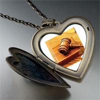 Necklace & Pendants - judge' s tool gavel large heart locket pendant necklace Image.