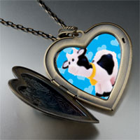 Necklace & Pendants - toy cow large heart locket pendant necklace Image.