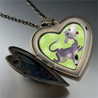 Necklace & Pendants - dancing cow large heart locket pendant necklace Image.