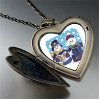 Necklace & Pendants - heart locket pendants christmas gifts snowman carolers large heart locket pendant necklace Image.