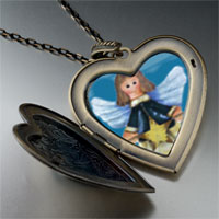 Necklace & Pendants - angel star large heart locket pendant necklace Image.