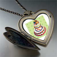Necklace & Pendants - tiered birthday cake large heart locket pendant necklace Image.