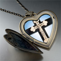 Necklace & Pendants - ivory crcifix on cross large heart locket pendant necklace Image.