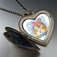 Necklace & Pendants - easter basket &  bunny large heart locket pendant necklace Image.