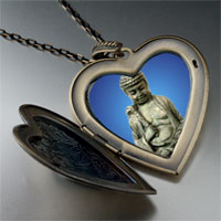 Necklace & Pendants - stone buddha large heart locket pendant necklace Image.