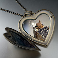 Necklace & Pendants - squirrel taking photos large heart locket pendant necklace Image.