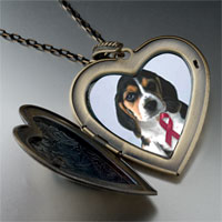 Necklace & Pendants - puppy wearing red ribbon large heart locket pendant necklace Image.