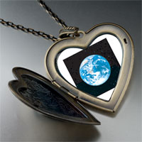 Necklace & Pendants - earth space large heart locket pendant necklace Image.
