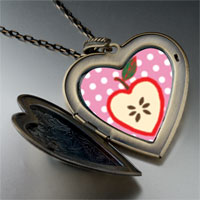 Necklace & Pendants - sliced heart apple large heart locket pendant necklace Image.