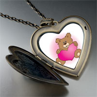 Necklace & Pendants - brown teddy bear heart large heart locket pendant necklace Image.
