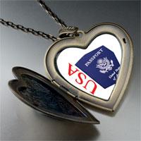 Necklace & Pendants - usa passport blue large heart locket pendant necklace Image.