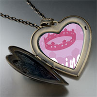 Necklace & Pendants - pink princess tiara large heart locket pendant necklace Image.