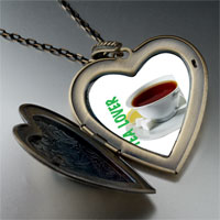 Necklace & Pendants - tea lover large heart locket pendant necklace Image.