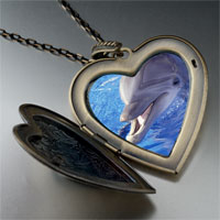 Necklace & Pendants - smiling dolphin large heart locket pendant necklace Image.