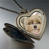 Necklace & Pendants - shih tzu dog large heart locket pendant necklace Image.