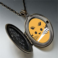 Necklace & Pendants - orange cat painting photo locket pendant necklace Image.